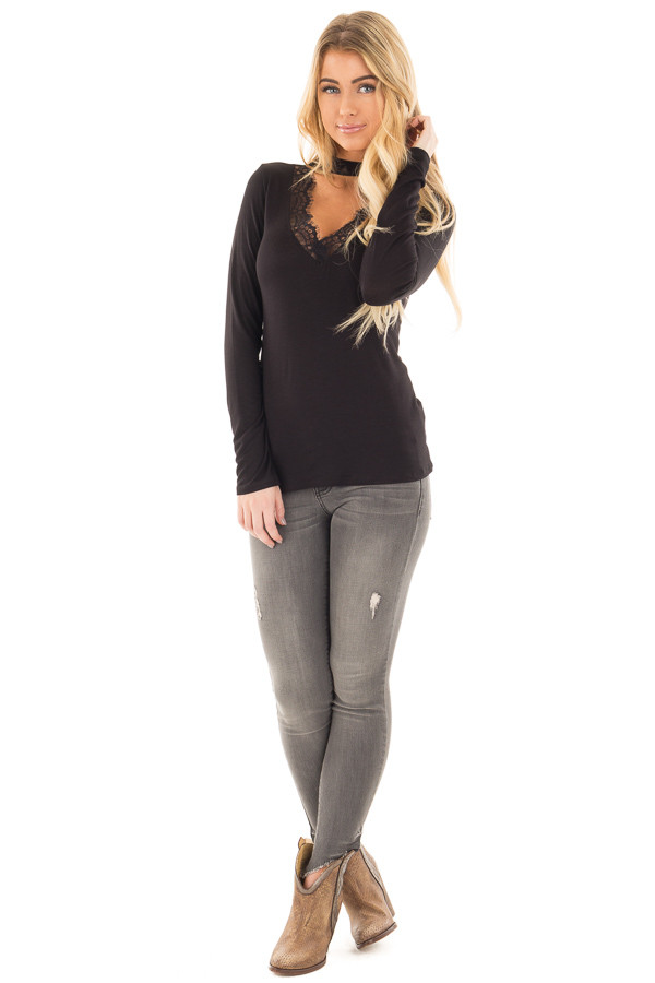 Black Top with Lace V Neck Cut Out with Mock Neck Band front full body