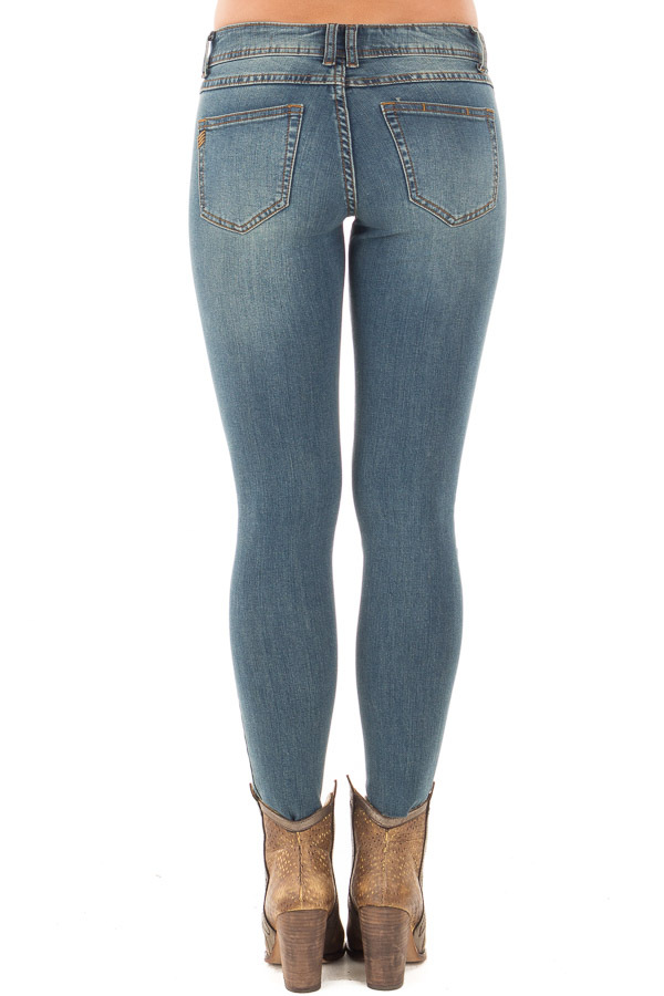 Dark Denim Skinny Crop Jeans with Destroyed Tear Detail back view