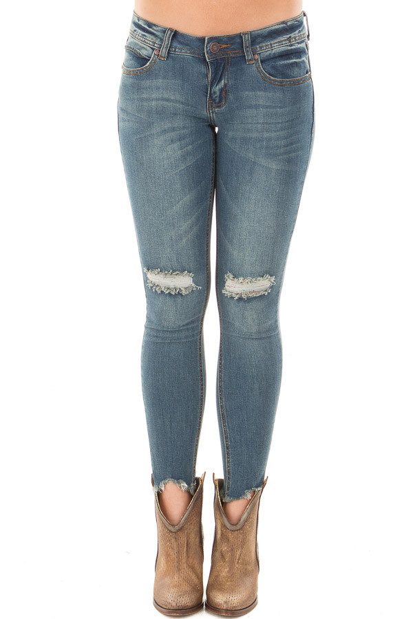 Dark Denim Skinny Crop Jeans with Destroyed Tear Detail front view