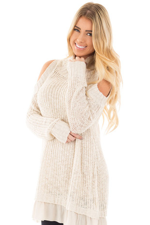 Oatmeal Cold Shoulder Mock Neck Knit Sweater front close up