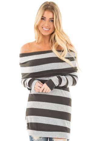 Olive and Heather Grey Striped Fold Over Off Shoulder Top front close up