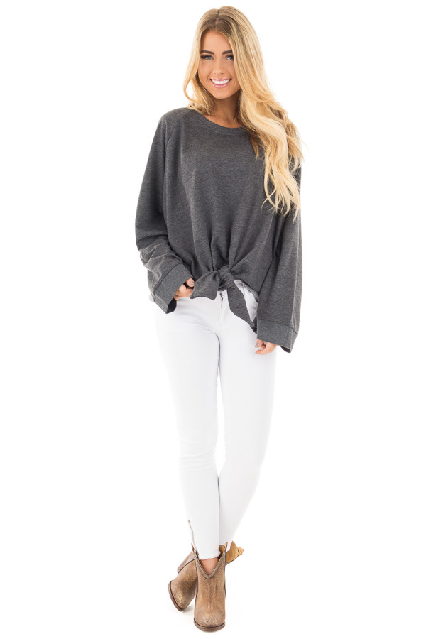 Charcoal Loose Fit Sweater with Front Tie Detail front full body