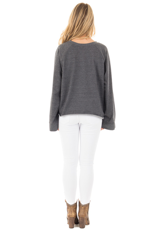 Charcoal Loose Fit Sweater with Front Tie Detail back full body