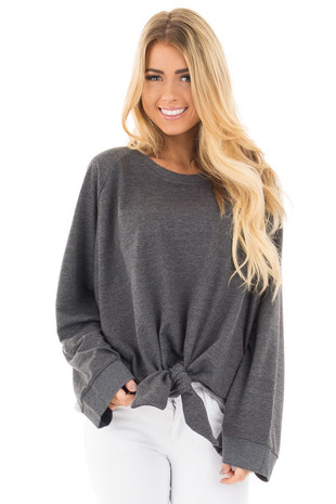 Charcoal Loose Fit Sweater with Front Tie Detail front close up
