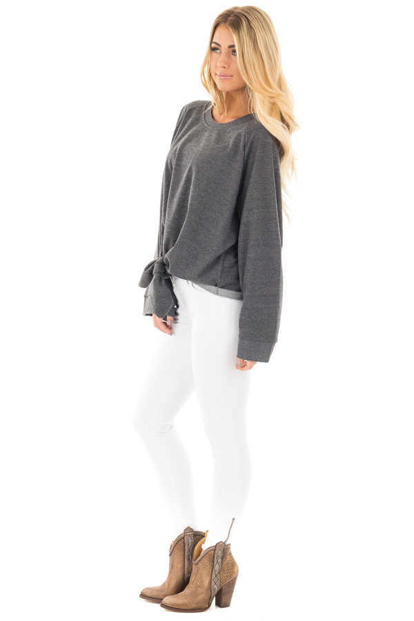 Charcoal Loose Fit Sweater with Front Tie Detail side full body