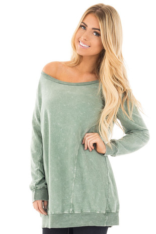 Sage Mineral Wash Round Neck Long Sleeve Tunic front close up