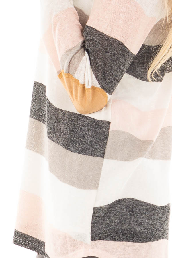 Ivory Blush and Grey Striped Top with Criss Cross Neckline detail