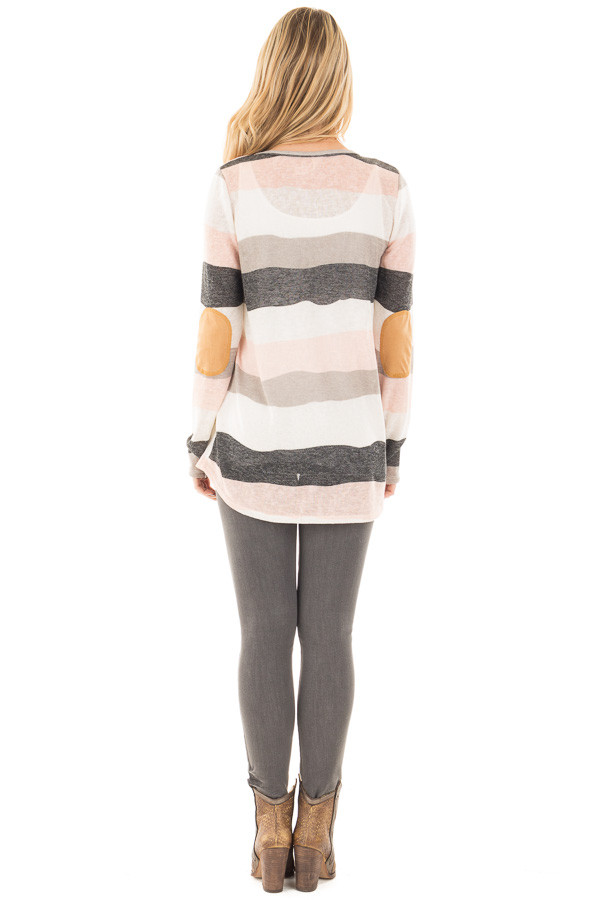 Ivory Blush and Grey Striped Top with Criss Cross Neckline back full body