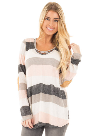 Ivory Blush and Grey Striped Top with Criss Cross Neckline front close up