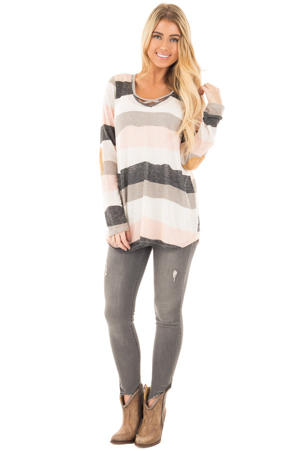 Ivory Blush and Grey Striped Top with Criss Cross Neckline front full body