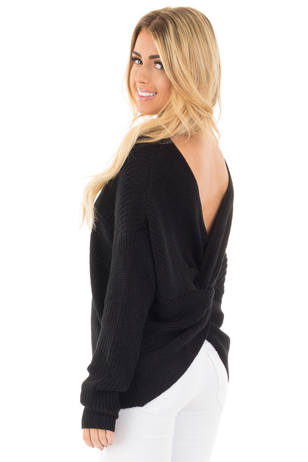Black Long Sleeve Knit Sweater with Twist Back Detail back side close up