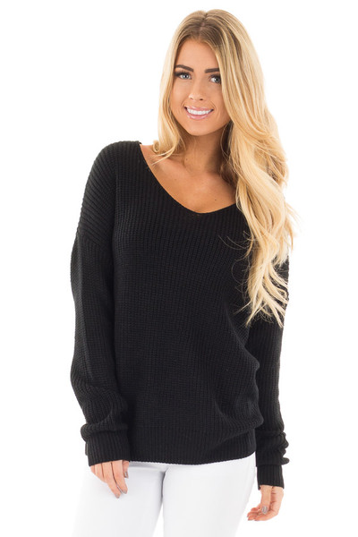 Black Long Sleeve Knit Sweater with Twist Back Detail front close up