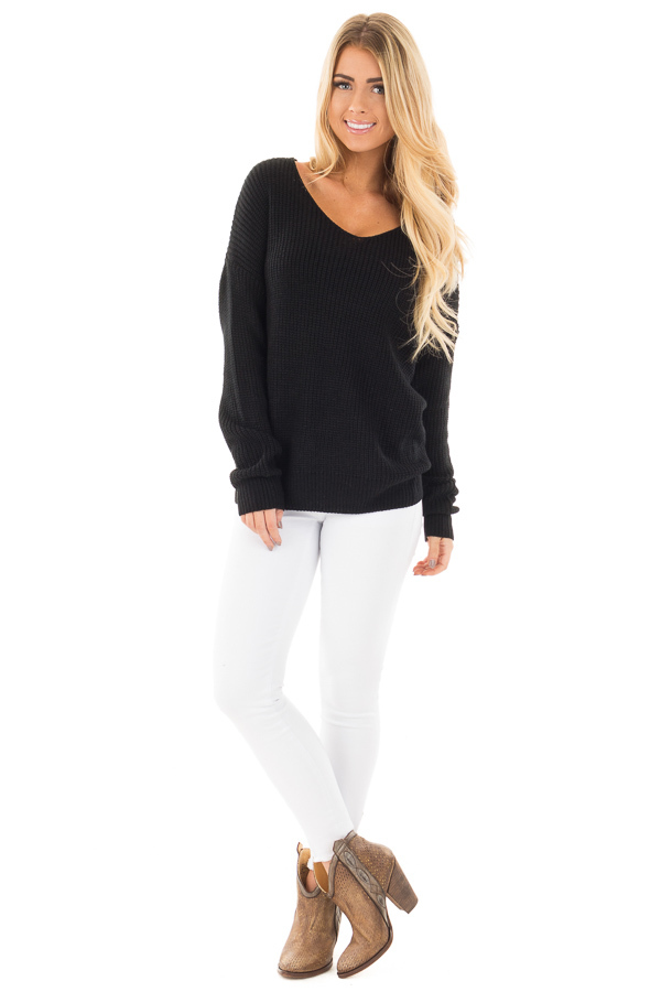 Black Long Sleeve Knit Sweater with Twist Back Detail front full body