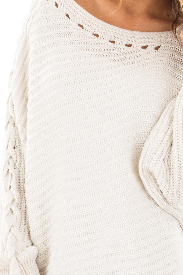 Lunar Grey Knit Boat Neck Sweater with Lace Up Sleeve Detail detail