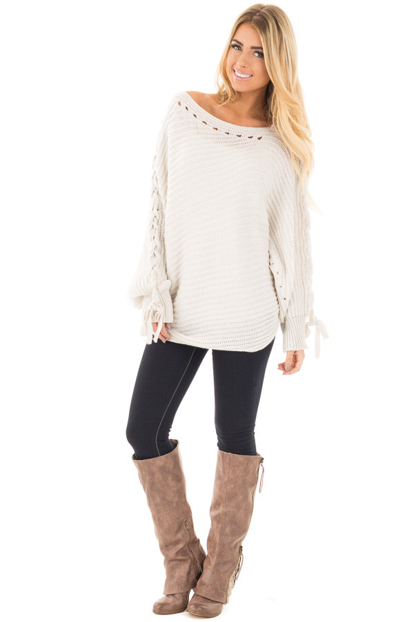 Lunar Grey Knit Boat Neck Sweater with Lace Up Sleeve Detail front full body