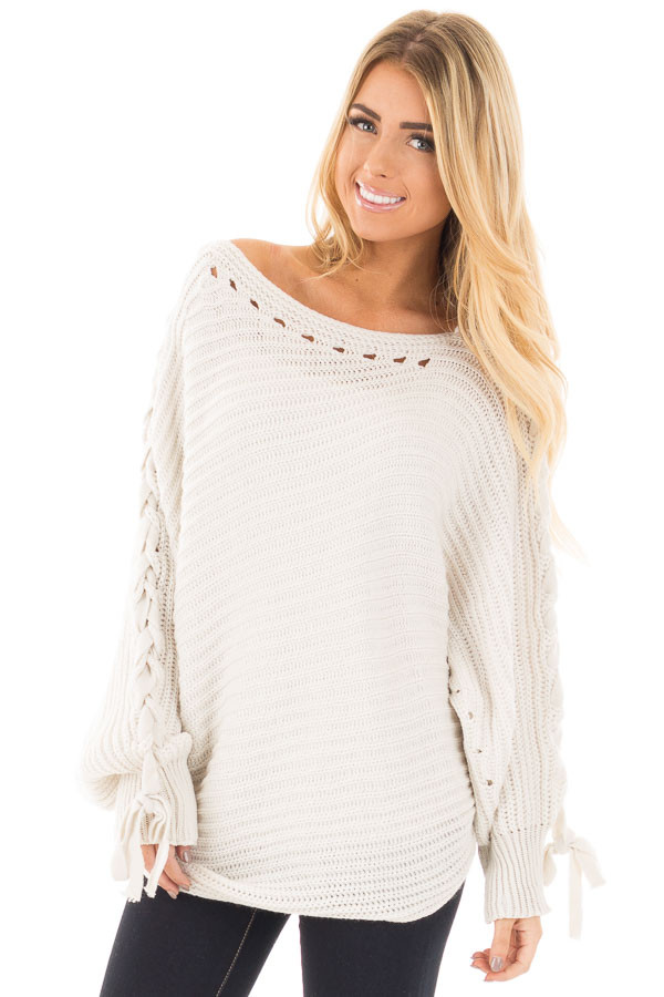 Lunar Grey Knit Boat Neck Sweater with Lace Up Sleeve Detail front close up