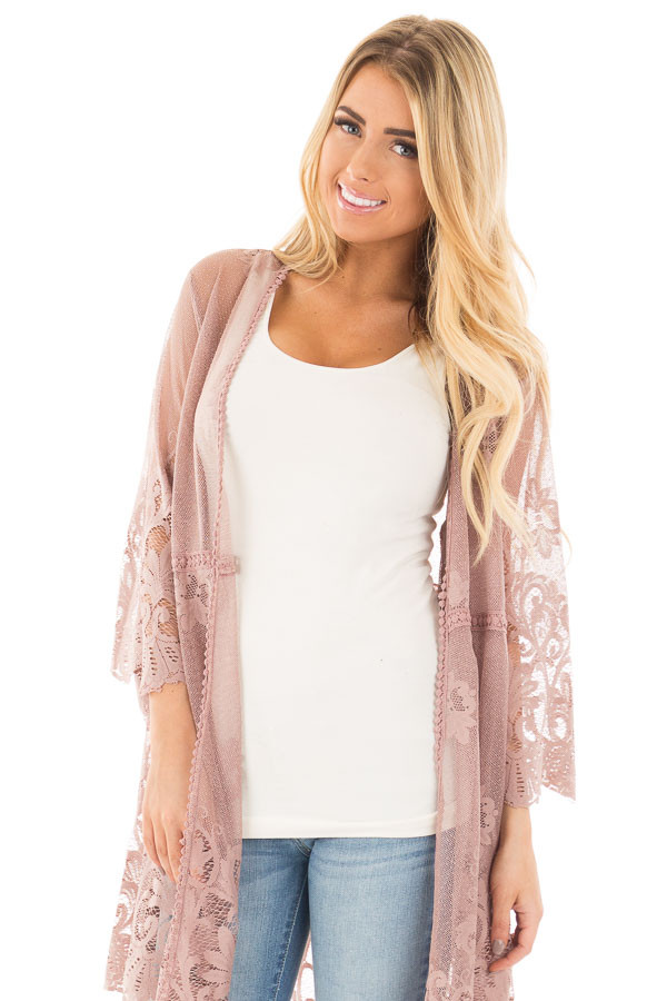Mocha 3/4 Sleeve Floral Lace Kimono Open Cardigan front close up