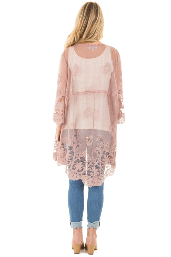 Mocha 3/4 Sleeve Floral Lace Kimono Open Cardigan back full body