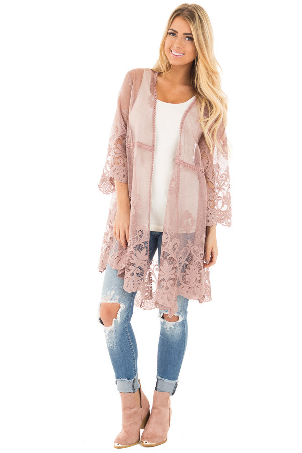 Mocha 3/4 Sleeve Floral Lace Kimono Open Cardigan front full body