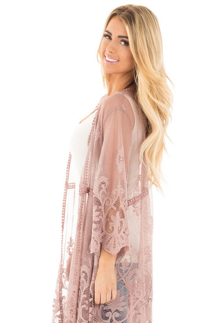 Mocha 3/4 Sleeve Floral Lace Kimono Open Cardigan side close up