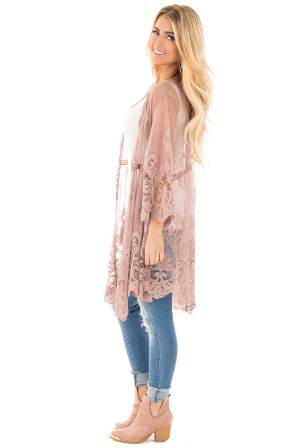 Mocha 3/4 Sleeve Floral Lace Kimono Open Cardigan side full body