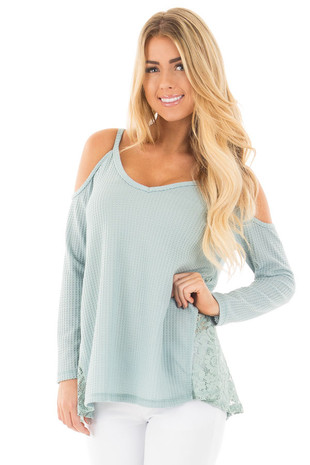 Dusty Blue Cold Shoulder V Neck Top with Lace Sides front close up