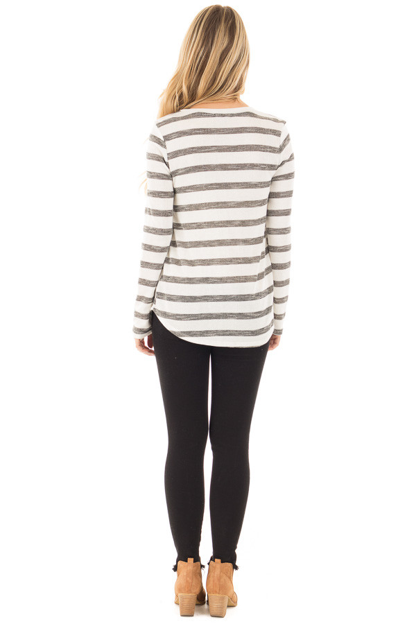 Ivory and Charcoal Striped Top with Floral Breast Pocket back full body