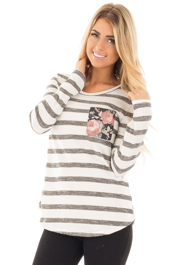 Ivory and Charcoal Striped Top with Floral Breast Pocket front close up