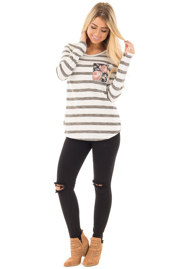 Ivory and Charcoal Striped Top with Floral Breast Pocket front full body
