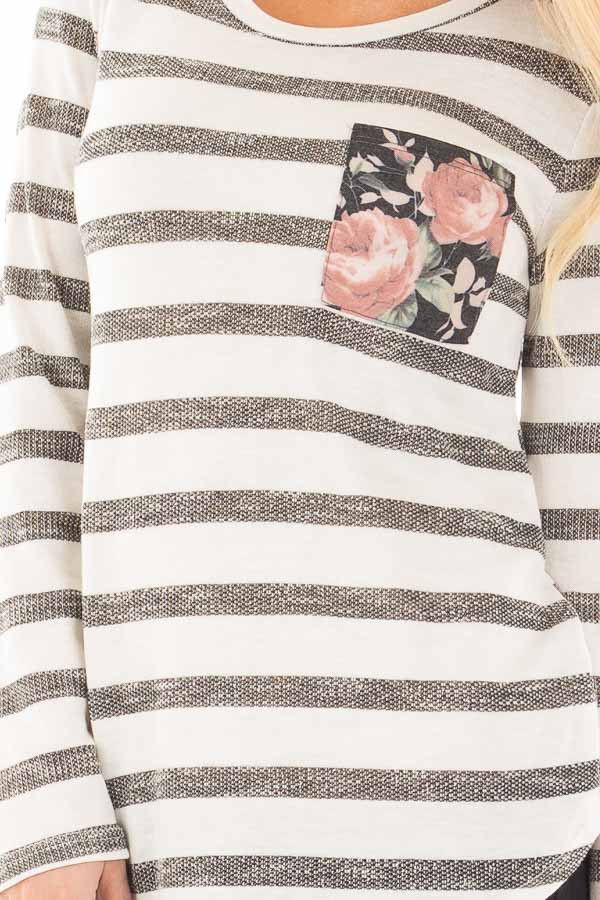 Ivory and Charcoal Striped Top with Floral Breast Pocket detail