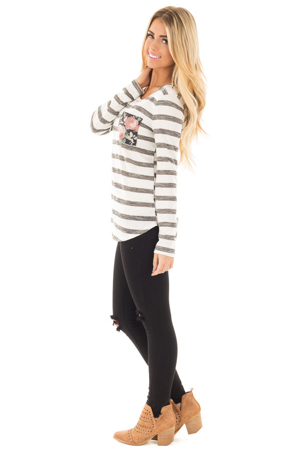 Ivory and Charcoal Striped Top with Floral Breast Pocket side full body