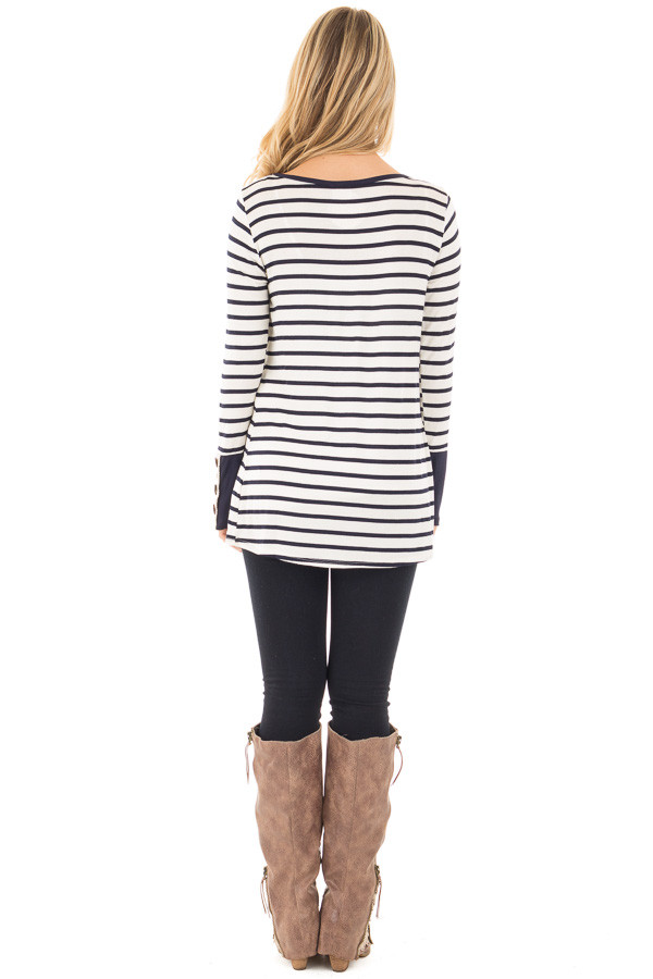 Navy Striped Top with Crochet and Button Detailed Cuffs back full body
