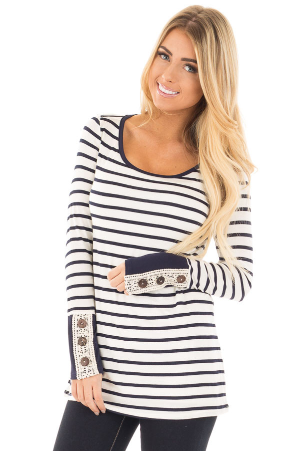 Navy Striped Top with Crochet and Button Detailed Cuffs front close up