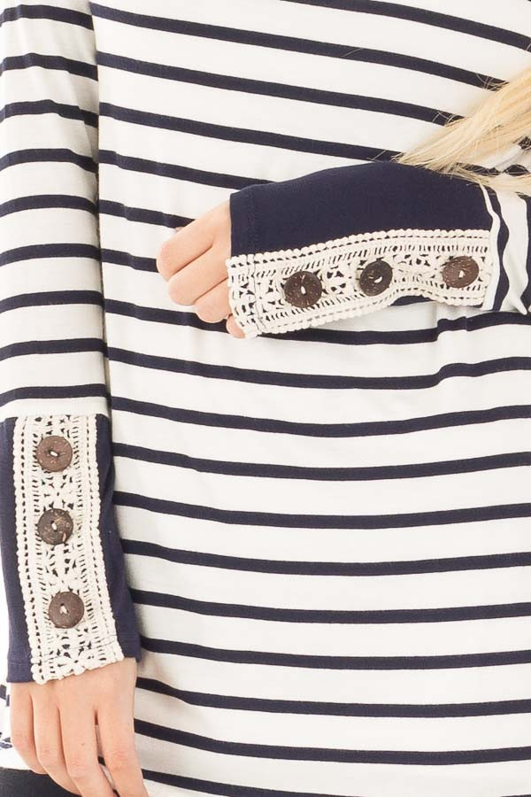 Navy Striped Top with Crochet and Button Detailed Cuffs detail