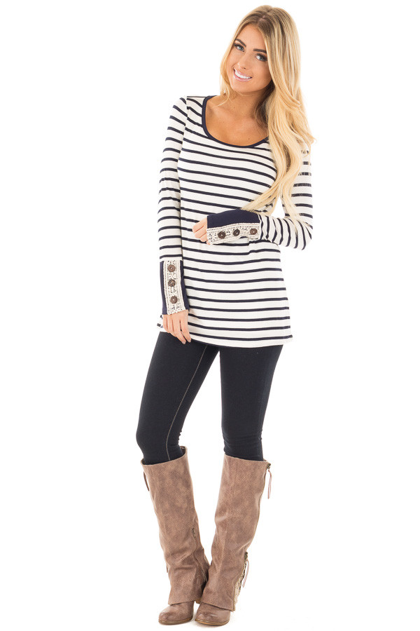 Navy Striped Top with Crochet and Button Detailed Cuffs front full body