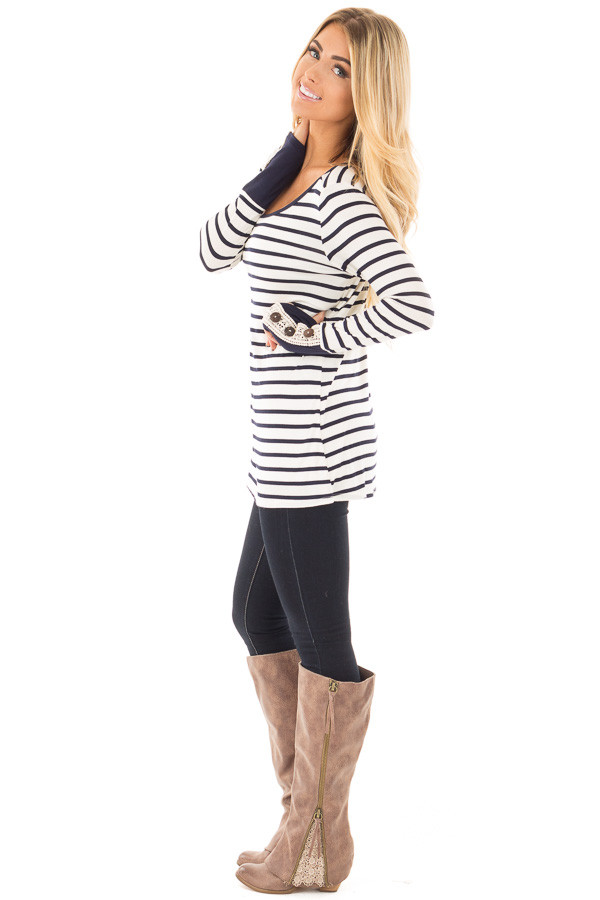 Navy Striped Top with Crochet and Button Detailed Cuffs side full body