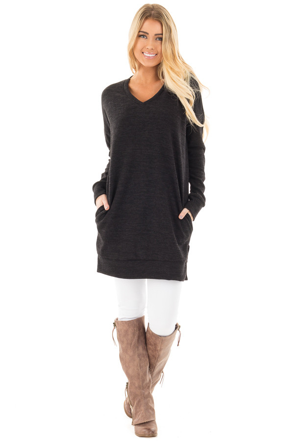 Black Sweater Tunic Dress with Side Pockets front full body