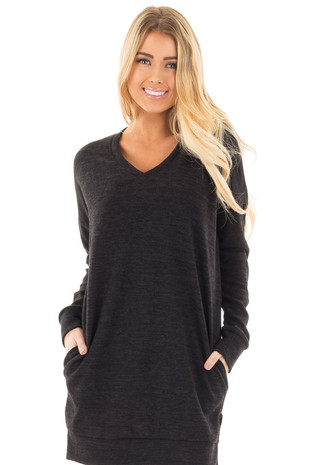 Black Sweater Tunic Dress with Side Pockets front close up