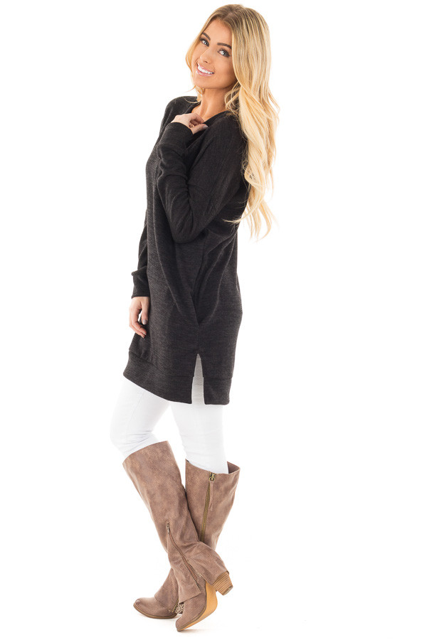 Black Sweater Tunic Dress with Side Pockets side full body