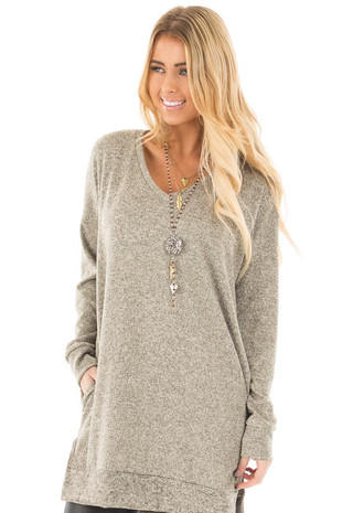 Taupe Two Tone Sweater Tunic Dress with Side Pockets front close up