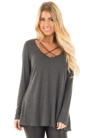 Charcoal Long Sleeve Top with Criss Cross Detail front close up