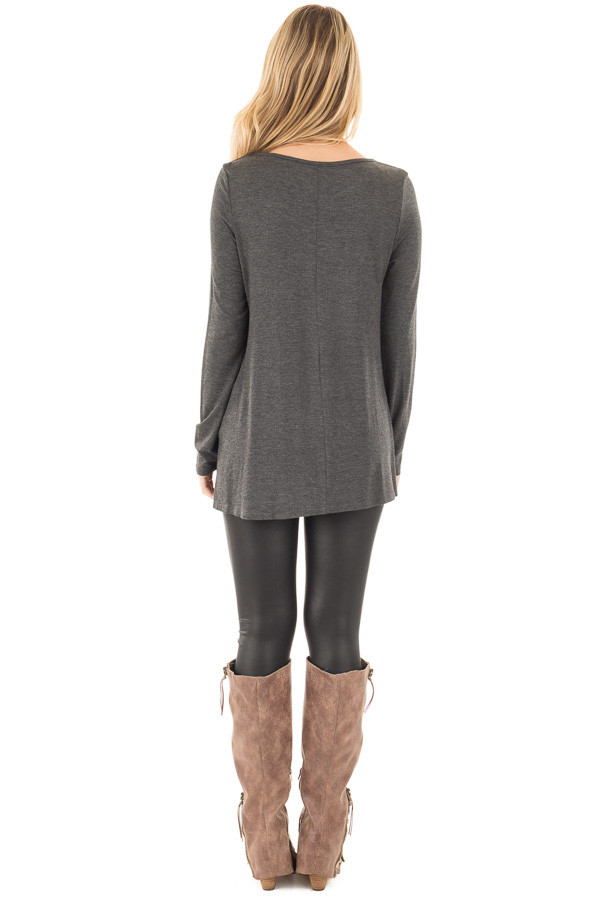 Charcoal Long Sleeve Top with Criss Cross Detail back full body