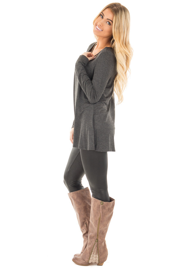 Charcoal Long Sleeve Top with Criss Cross Detail side full body