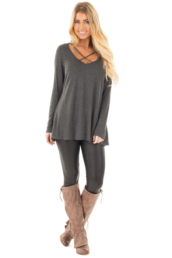 Charcoal Long Sleeve Top with Criss Cross Detail front full body