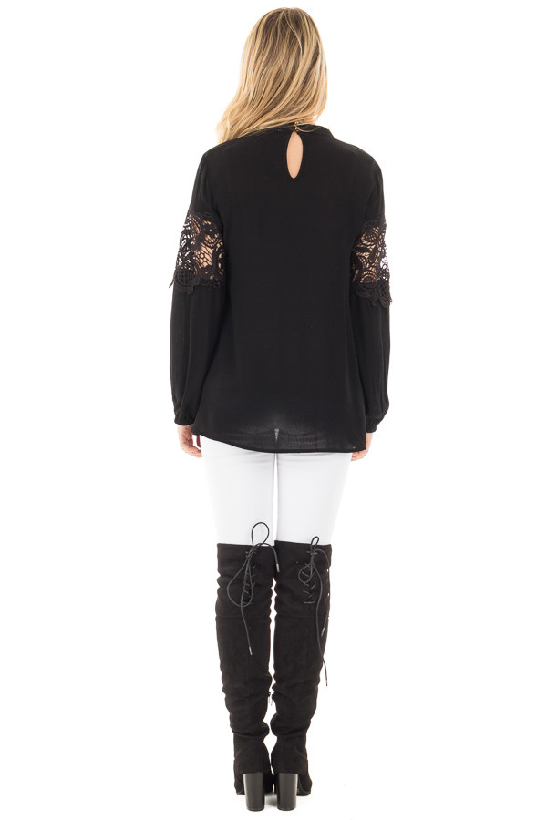 Black High Neck Lace Detail Blouse back full body