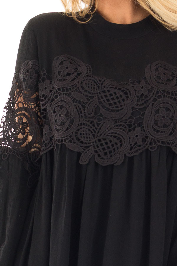 Black High Neck Lace Detail Blouse detail