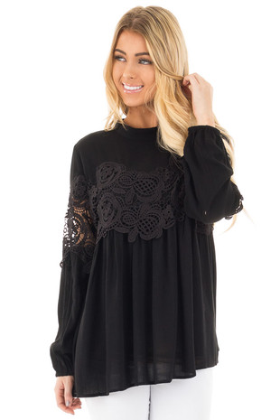 Black High Neck Lace Detail Blouse front close up