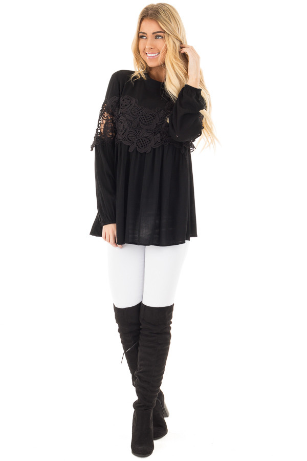 Black High Neck Lace Detail Blouse front full body