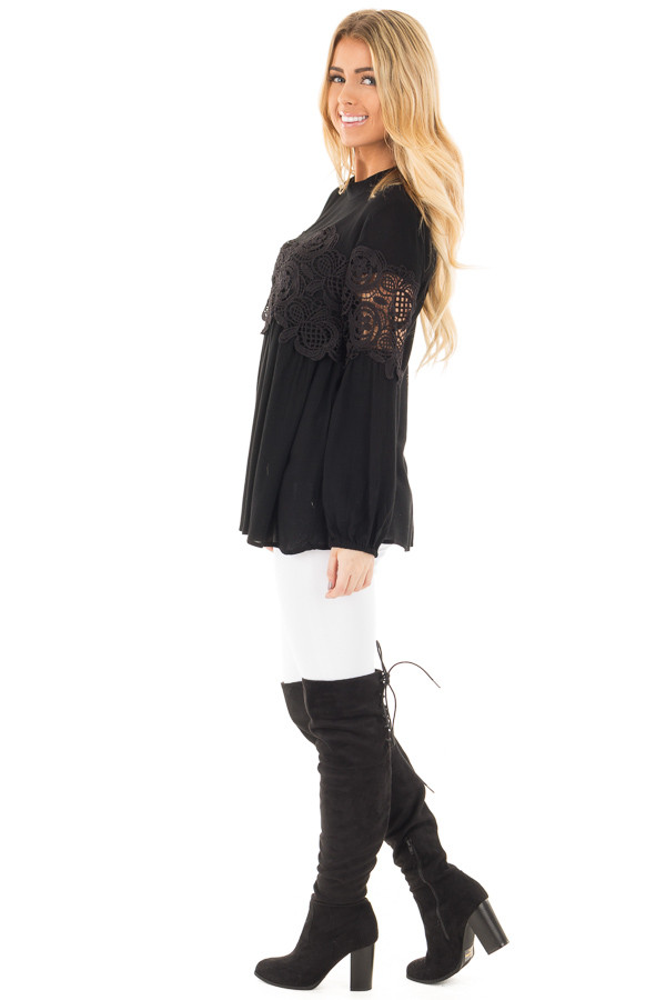 Black High Neck Lace Detail Blouse side full body