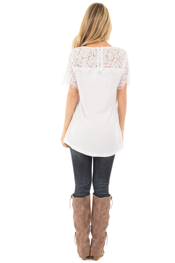 Off White Tee with Sheer Lace Details back full body